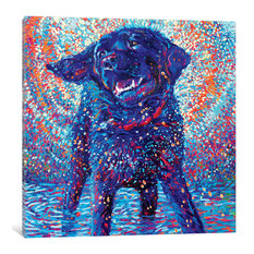"""Canines & Color Gallery"" by Iris Scott, 37""x37""x1.5"""