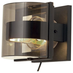 Modern Outdoor Square Wall Light With Smoked Glass