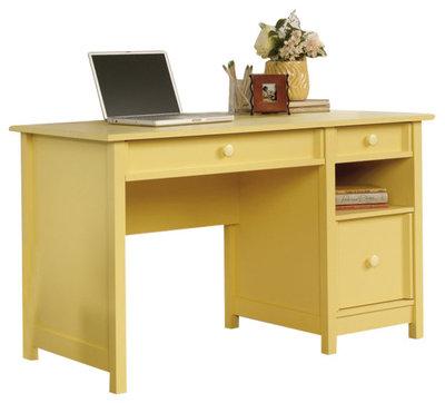 Contemporary Desks And Hutches Sauder Original Cottage Desk in Melon Yellow Finish