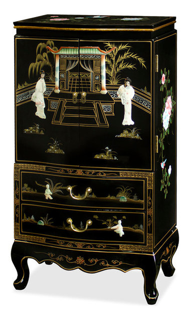 Black Lacquer Jewelry Armoire Asian Jewelry Armoires by China