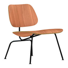 Eames Molded Plywood Lounge Chair by Herman Miller, Natural Cherry, Black
