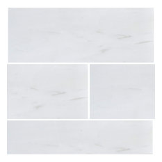 "3""x9"" Bianco Dolomiti Polished Marble Tiles, Set of 5"