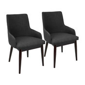 Santiago Dining Chairs, Set of 2, Charcoal Fabric, Walnut Legs