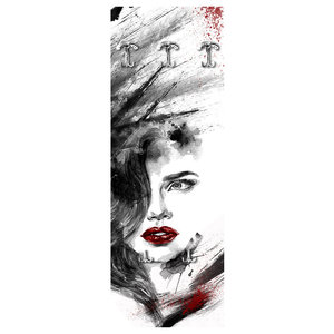 Woman Abstract Red Wall Coat Rack
