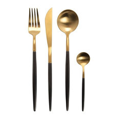 A.U. Maison Sapore 16-Piece Cutlery Set, Gold and Black