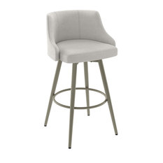 Duncan Swivel Stool, Matte Light Grey/Pale Grey Polyester, Counter Height