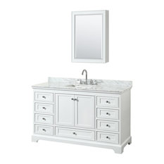 "Deborah 60"" Single Vanity, Med Cabinet, White, Carrara Top, Square Sink"