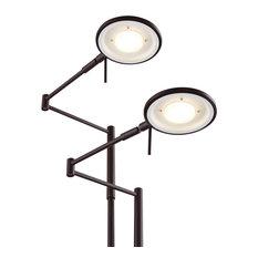Dessau Turbo Double Swing-Arm LED Floor Lamp, Bronze