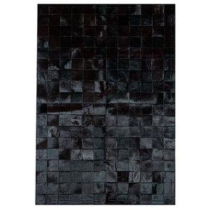 Patchwork Leather Cubed Cowhide Rug, Black, 140x200 cm