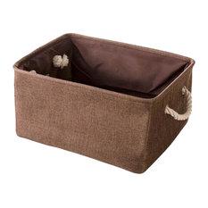 36x26x16 cm, Brown Linen Storage Basket