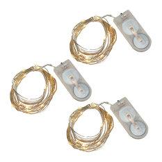 20 Battery Powered Mini LED String Lights Bright White, Set of 3, Warm White