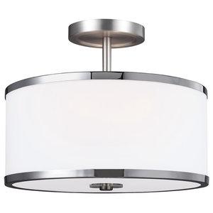 2-Light Semi-Flush, Satin Nickel-Chrome