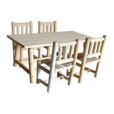 White Cedar Large Dining Table and Chairs Set, Set of 5