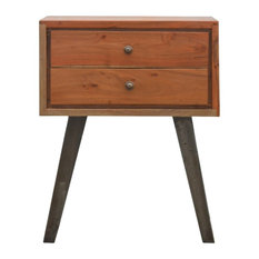 2-Drawer Chestnut Bedside With Industrial Feet, Caramel/Pewter Base, 45x35x56 cm