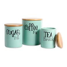 DII Aqua Coffee/Sugar/Tea Ceramic Canister, Set of 3
