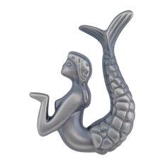Mermaid Knob Right, Pewter