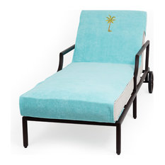 Palm Tree Embroidered Standard Size Chaise Lounge Cover, Aqua