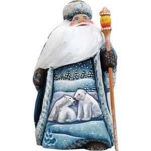 Artistic Wood Carved Snowman And Polar Bears Sculpture Contemporary Holiday Accents And Figurines By G Debrekht