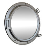 Handcrafted Nautical Decor - Porthole Mirror, Silver Finish, 24'' - This Silver Finish Porthole Mirror 24'' adds sophistication, style, and charm for those looking to enhance rooms with a nautical theme. This boat porthole has a sturdy, heavy and authentic appearance, yet it is made of wood and fiberglass to lower the weight for use as nautical wall decor. This porthole mirror makes a fabulous style statement in any room with its classic round frame, five solid rivets and two dog ears surround the perimeter of the porthole frame.