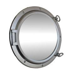 Porthole Mirror, Silver Finish, 24''