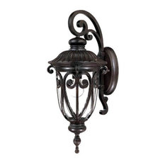 """23"""" Tall Mahogany Outdoor Wall Mount-Light, Hand-Blown Clear Seeded Glass"""