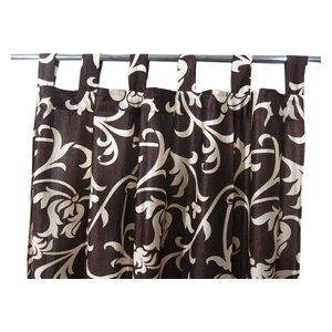"Mogul Interior - Sari Curtains Designer Printed Tab Top Saree Drapes Window Panels- Pair, 48""x96"" - Curtains"