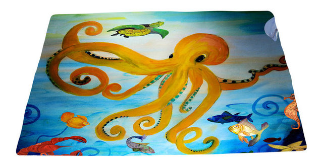 Sea Life Area Rug From My Art Yellow Octopus
