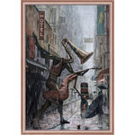 """overstockArt - La Pastiche Life Is a Dance in The Rain Instrumental Reproduction w/Frame, 27x39 - Surrealist painter Adrian Borda connects music and romance in this serendipitous artwork, titled """"Life is a Dance in the Rain (Instrumental)"""". Despite the impossible scenery, the image is lively and dynamic, inviting the viewer to examine it more closely. The artist's translation of human body language onto musical instruments is incredibly successful, communicating their connection remarkably well. Add a little romance to any room with this gorgeous contemporary painting. It's glistening streets and romantic ideals are the perfect touch. Frame Description: Rose Gold Classico Frame"""