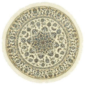 Nain 9La Oriental Rug, Round Hand-Knotted Classic, 150x150 cm
