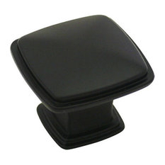 "Cosmas 4391FB Flat Black 1-1/4"" Square Cabinet Knob"