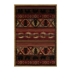 """Lodge King Red Pine Rustic Southwest Area Rug, 5'3""""x7'7"""""""