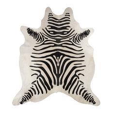 SALE! Beautiful Black and Off-White Brazilian Zebra Striped Hair On Cowhide Rug