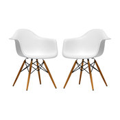 Pascal White Plastic Chairs, Set of 2