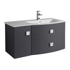 Sarenna Wall-Mounted Bathroom Vanity Unit, Black, Right-Hand, 100 cm