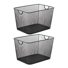 "YBM Home Wire Mesh Open Bin Basket Black 14""x10""x8.8"", 2-Pack"