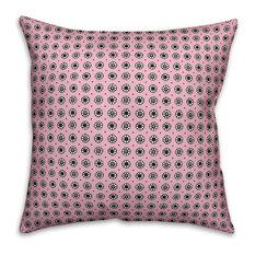 "Pixel Floral Pattern, Pink Outdoor Throw Pillow, 16""x16"""
