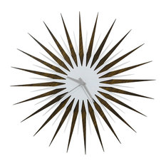 RF Atomic Clock-Walnut White/Grey, Midcentury Modern Wood & Acrylic Wall Clock