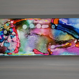 Biscayne Bay Fish - Tropical Abstract Painting, Fish in Pink, Blue,  and Yellow