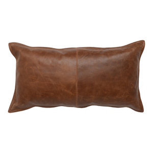"Cheyenne 100% Leather 14""x26"" Throw Pillow by Kosas Home, Brown"