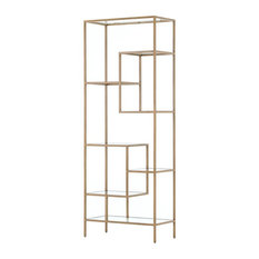 Hollywood Regency Gold Brass and Glass Bookcase Etagere