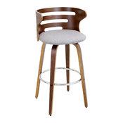 Lumisource Cosini Modern Barstool With Walnut Wood and Gray