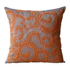 Orange Art Silk 40x40 Beaded Garden Rail Cushions Cover, Orange Whirlwind