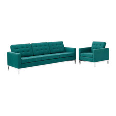 2 Piece Upholstered Fabric Sofa And Armchair Set Teal