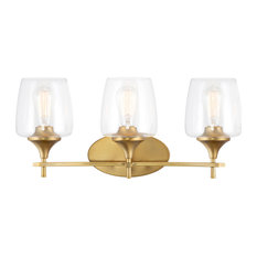 Kira Home Stella Chic Wall Light/Hanging Light, Wine Glass Shades, Warm Brass