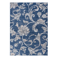 Garland Transitional Floral Navy Rectangle Area Rug, 9'x12.6'