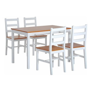 Contemporary 5-Piece Dining Set, Solid Wood, Rectangular Table With 4 Chairs