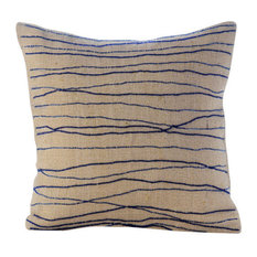 Blue Burlap 35x35 Ocean Waves Throw Cushions Cover, Sea King