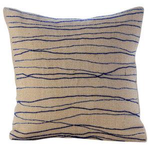 Blue Ocean Waves Throw Cushions Cover, 50x50 Burlap Cushion Covers, Sea King