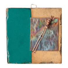 """Louise Handmade Clay And Copper Decorative Tile, 4"""""""