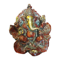 Mogul Interior - Hindu God Ganesh Statue Ganesha Sitting on a Leaf Brass Scuplture - Decorative Objects And Figurines